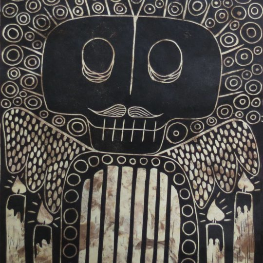 """Grabado en linóleo """"ABUELITO PITÁGORAS"""" 4/7"""
