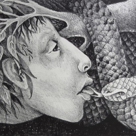 """Litografía """"Besando Ofideos"""""""
