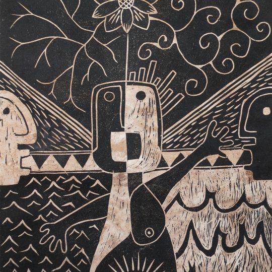 """Linoleum engraving """"Dualidad en vida"""" 4/7"""